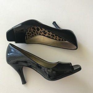 Tahari Shoes - Tahari Riddle Black Patent Leather Open Toe Heels